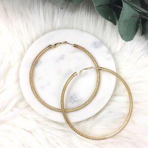 """Oversized Gold Mesh Hoop Earrings 3.25"""""""